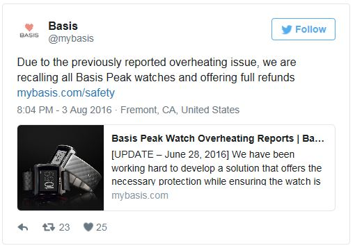 Basis recalls every Peak ever made due to overheating issues