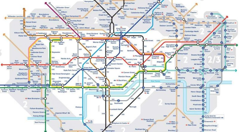 New London walking tube map shows how many steps there are between stops