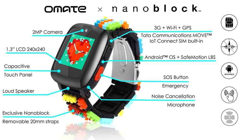 omate teams up with nanoblock on a lego like smartwatch for kids - Omate teams up with Nanoblock on a LEGO-like smartwatch for kids