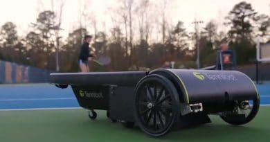 Tennibot: picks up tennis balls for you, saving the time and hassle