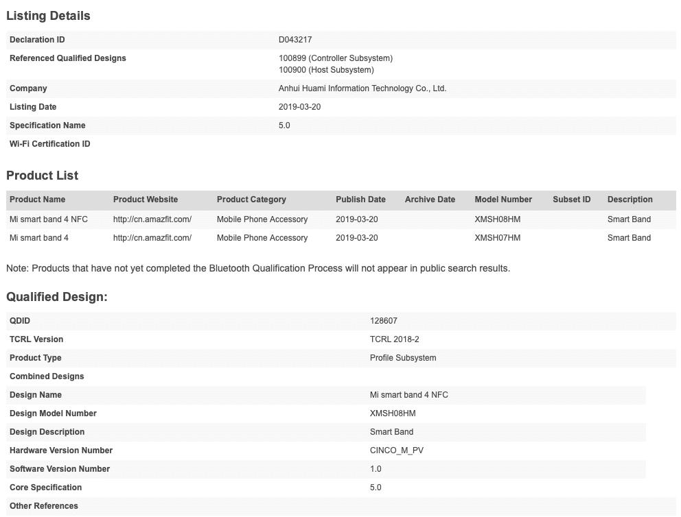 xiaomi mi band 4 release nears as tracker gets bluetooth certification - Xiaomi Mi Band 4 release nears as tracker gets Bluetooth certification