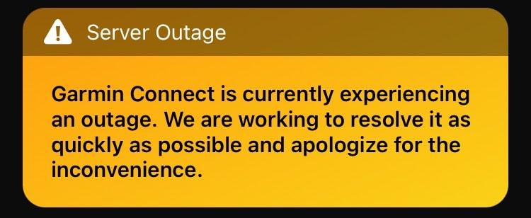Garmin is down, again! Server status latest.