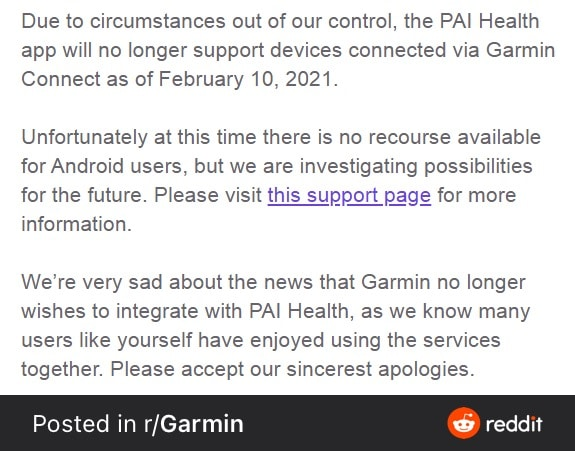 garmin no longer wishes to integrate with pai health - Garmin no longer wishes to integrate with PAI health